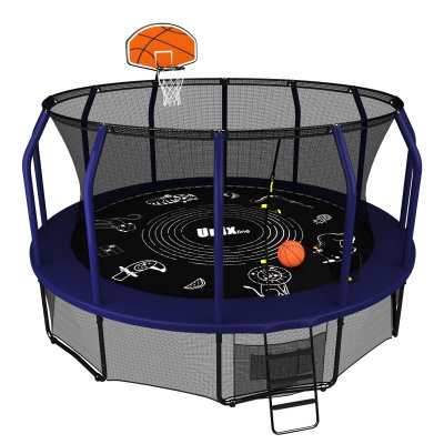 Батут Unix line 14 ft Supreme Game (blue) + Basketball