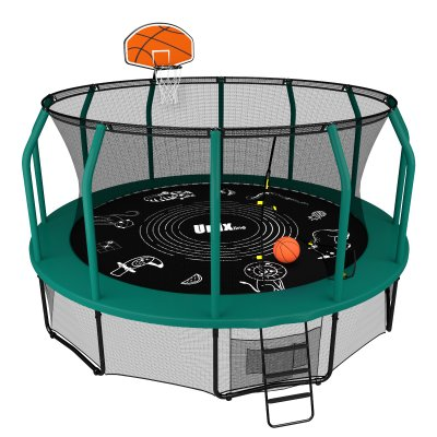 Батут Unix line 14 ft Supreme Game (green) + Basketball