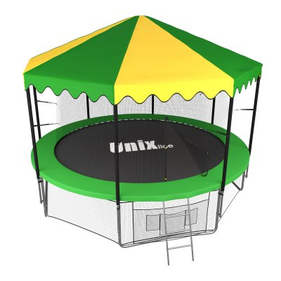 Батут Unix line 12 ft inside (Green) с крышей