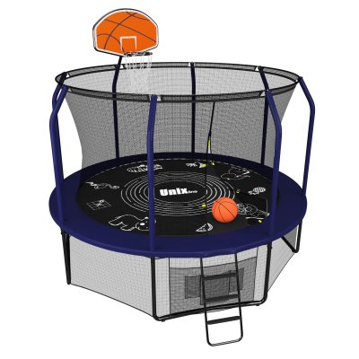 Батут Unix line 10 ft Supreme Game (blue) + Basketball
